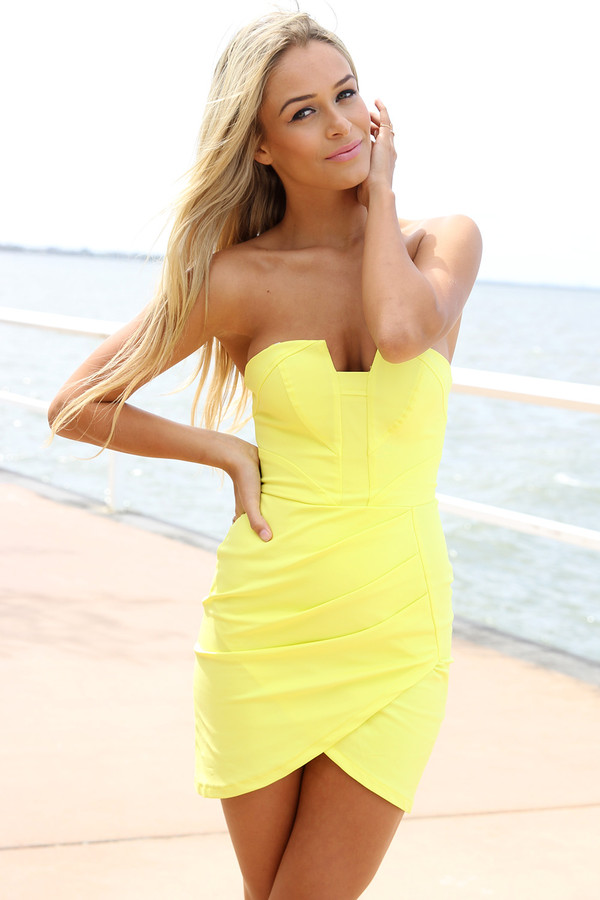 dress ustrendy dress strapless dress bodycon dress yellow dress ustrendy
