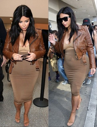 jacket top skirt pencil skirt plunge v neck sandals biker jacket kim kardashian