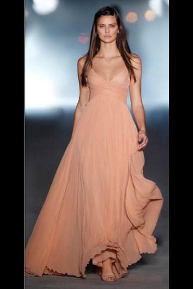 dress prom dress maxi dress pink dress prom dresses 2014 peach dress