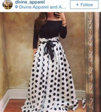 dress polka dots blackandwhite longskirt