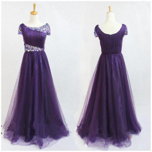 dress, purple prom dresses, purple evening dresses, scoop prom ...