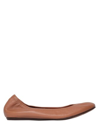 flats leather tan shoes