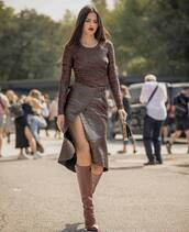 skirt,midi skirt,crocodile,wrap skirt,knee high boots,high heels boots,handbag,mini bag,blouse