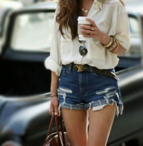 blouse girl lookbook style bag jewels sunglasses
