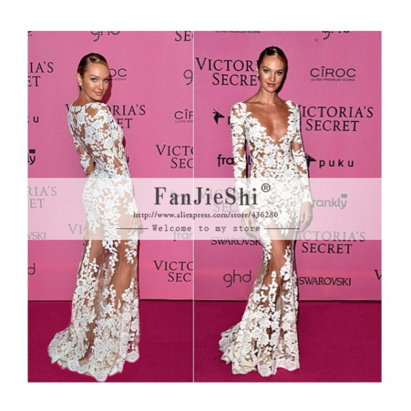 Aliexpress.com : buy new fashionable vestidos sexy v neck appliques long sleeve floor length backless see through custom made mermaid celebrity dress from reliable dress jacket wedding guest suppliers on suzhou fanjieshi wedding dress co., ltd.
