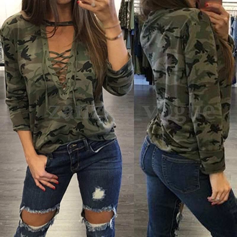Women Choker Lace-up V Neck Long Sleeve Tops Pullover Loose Shirt Blouse Hooded