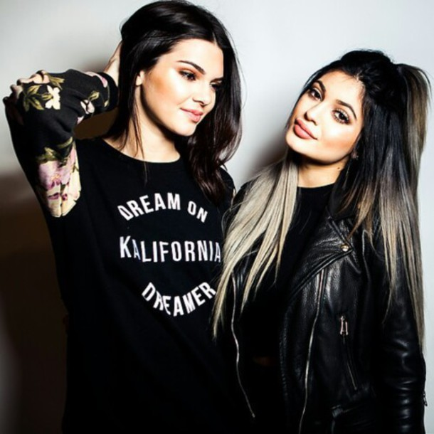 hair accessory kylie jenner black leather jacket sweater dream black jacket all black everything kendall and kylie jenner kendall jenner black shirt floral sweater floral natural makeup