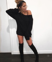 shoes,boots,knee high,suede,thigh high boots,sweater,andrea russett,black top,sweater dress,oversized sweater