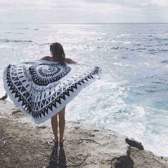 jacket boho bohemian mandala pattern print blue white ethnic native american poncho kimono cute cool tumblr teenagers beach summer spring sun sunny hot circle