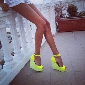 shoes neon wedges heels pumps sandals legs srap women yellow neon yellow wedges