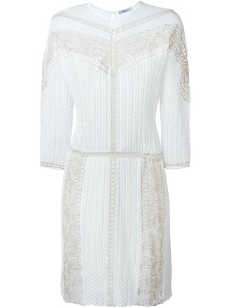 dress knit embroidered lace white