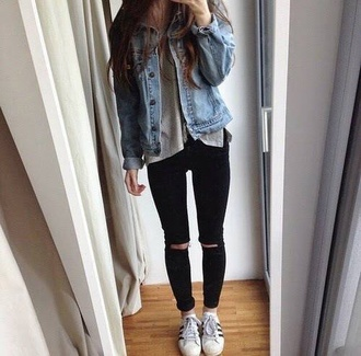 denim pants t-shirt grunge