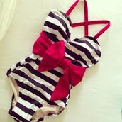 swimwear,stripes,bows,one piece swimsuit,pink,navy,white,straps,big red bow,big bow,crossed straps,belt swimsuit,black,redbow,pretty,summer,stripes one piece bow,red bow,cute,girly,sweet,shorts,now,red,blue,bow,belt,one piece,black white red,top,red dress,black and white,bow swimwear,pink bow black and white,Pin up,fashion,style,albion show stopper suit