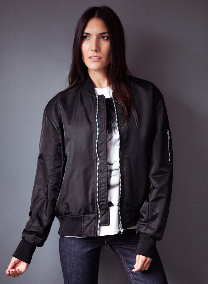 Women's Retro Black MA1 Bomber Jacket