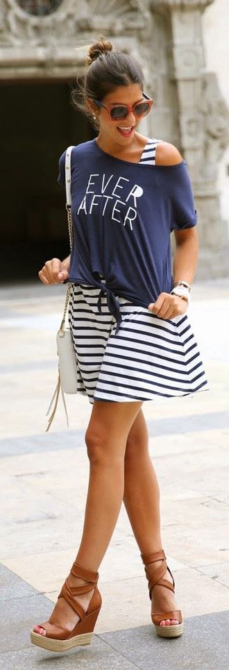 t-shirt striped dress striped skater dress skater dress shoulder bag white shoulder bag streetstyle slogan t-shirts one shoulder open toe wedges brown wedges brown sunglasses