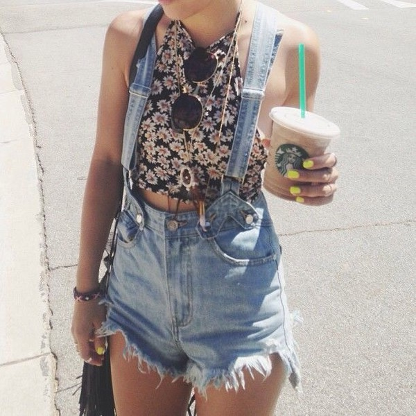 top grunge pinterest starbucks coffee denim shorts daisy shorts