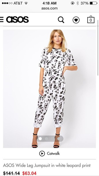 pants white leopard jumpsuit