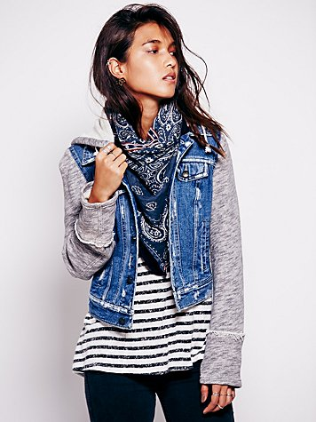 Free People  Knit Hooded Denim Jacket at Free People Clothing Boutique