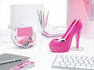 home accessory pink shoes high heel desk girly