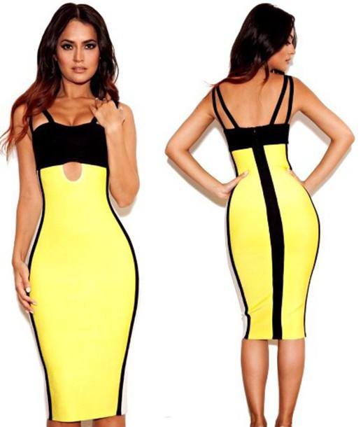 Yellow black and white midi dress