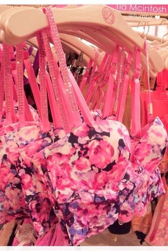 underwear pink flower cute bra bustier fashion style sexy