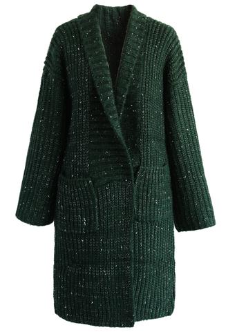 coat mottled chunky knit cardigan in dark green chicwish cardigan green