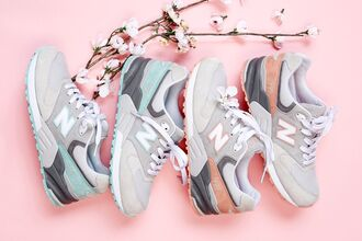 shoes new balance newbalancecherryblossom summer2014 lifestyle salmon colorful mint blue pink purple newbalance new balance 999 cherry blossoms