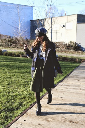 to bruck ave blogger skirt t-shirt coat hat fisherman cap winter outfits