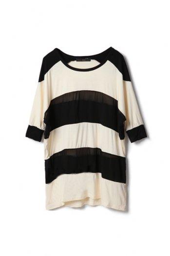 Black And Apricot Stripes Montage T-shirt [NCTJ0183] - $22.99 :