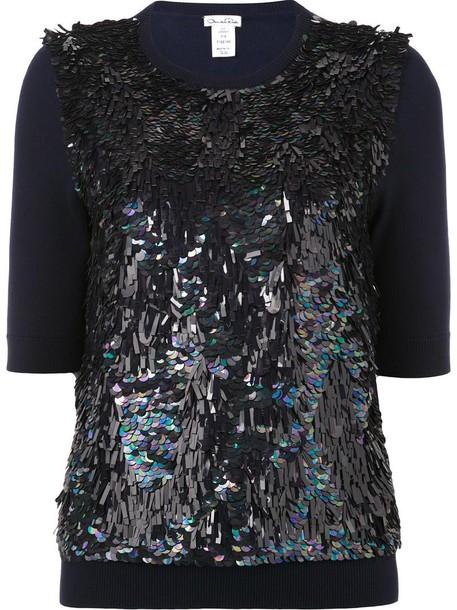 oscar de la renta top knit women blue