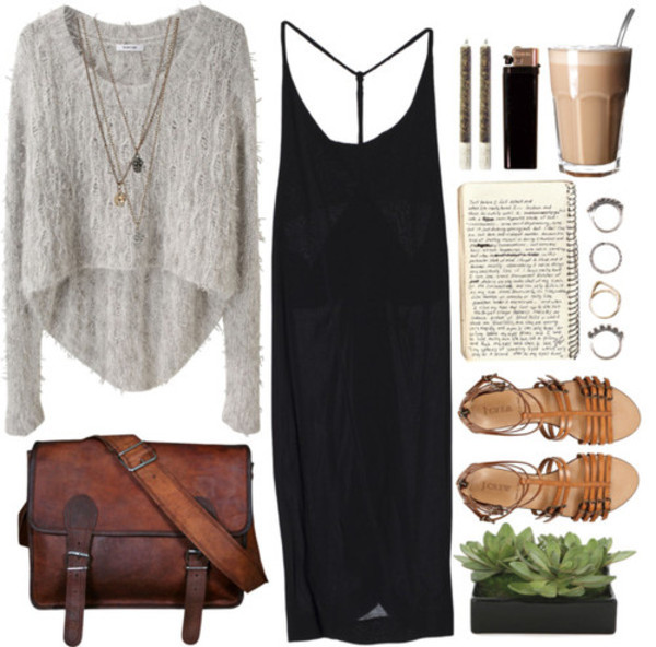 sweater black dress sandels brown bag black grey bag dress winter sweater fuzzy sweater high low fall sweater outfit t-shirt brown long dress loose oversized sweater coffee streetsyle fashion vibes street vibes sandals ring notebook