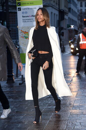 coat,top,leggings,booties,jourdan dunn,streetstyle,fashion week 2016,model off-duty,spring outfits,paris fashion week 2016,skinny pants