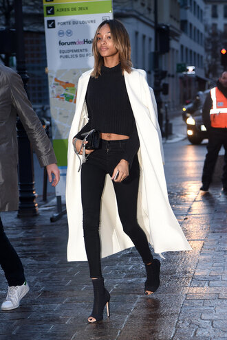 coat top leggings booties jourdan dunn streetstyle fashion week 2016 model off-duty spring outfits paris fashion week 2016 skinny pants