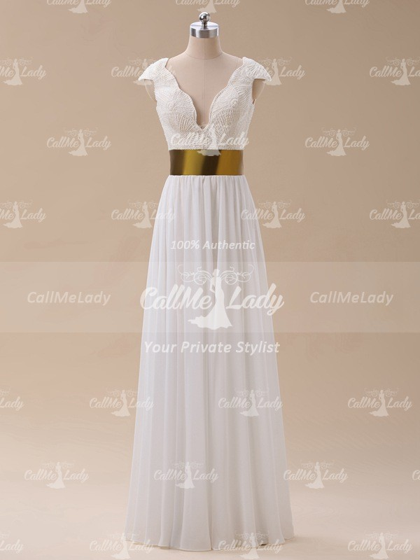 Sexy v-neck pearls long prom dresses / formal dress with cap sleeves - CallMeLady