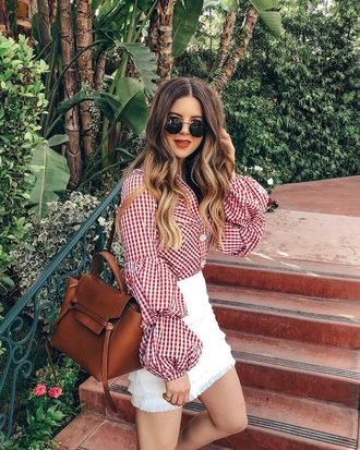 top gingham top red top bag skirt mini skirt white skirt sunglasses long sleeves