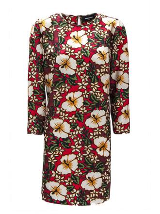 dress silk dress floral print silk red