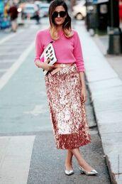 skirt,pink sequin,pink sequins,midi skirt,pink skirt,sequins,sequin skirt,sweater,pink sweater,clutch