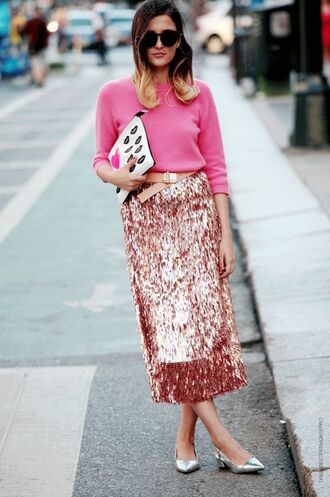 skirt pink sequin pink sequins midi skirt pink skirt sequins sequin skirt sweater pink sweater clutch