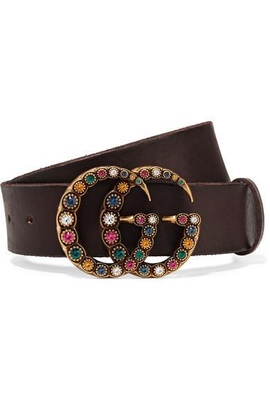Gucci - Crystal-embellished Leather Belt - Brown