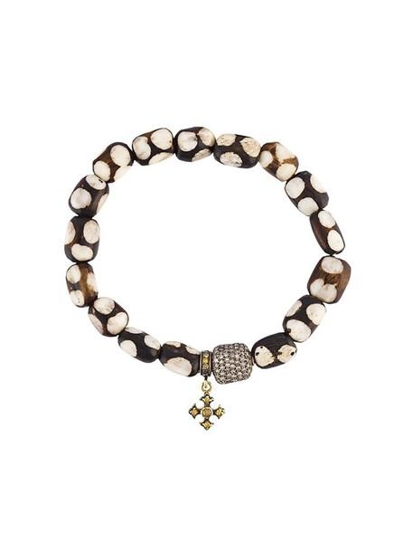 Loree Rodkin wood women beaded charm bracelet gold silver black yellow jewels