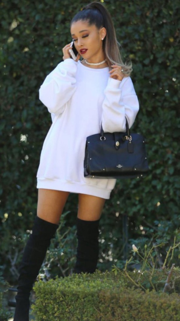 dress white sweater dress ariana grande sweatshirt sweater dress white dress white black and white sweater dress over the knee boots white jumper dress