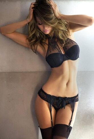 underwear black lingerie bra garter stockings sexy