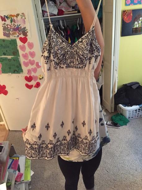 dress white with navy design white dress