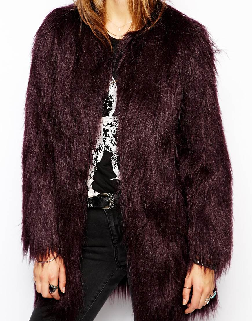 Unreal Fur Wanderlust Coat in Wine Faux Fur at asos.com