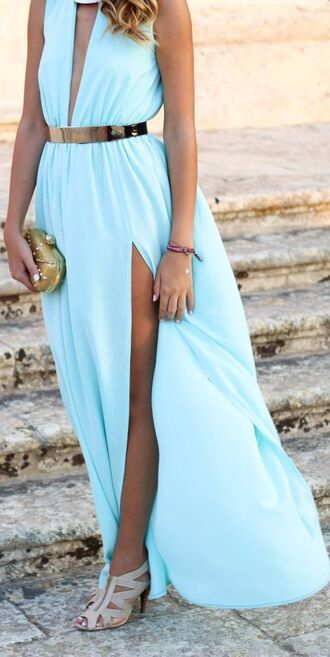 dress blue dress blue dress casual cute cut-out clutch bag belt high heels
