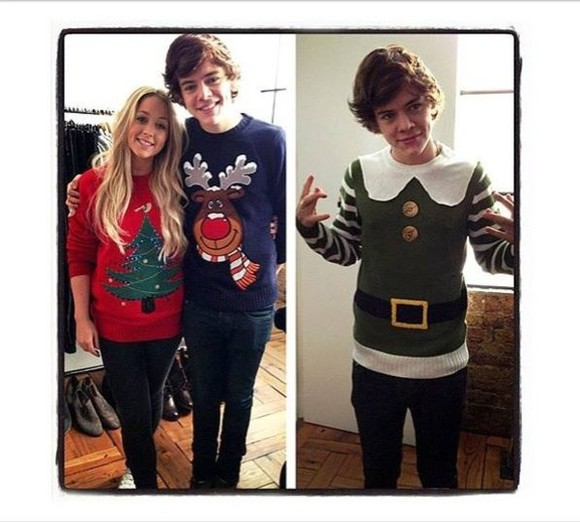 sweater blue sweater christmas sweater christmas harry styles christmas tree elk moose red sweater cute