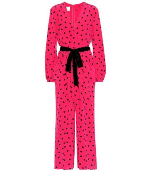 Valentino Heart print silk jumpsuit in pink