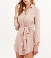 dress,girl,girly,girly wishlist,pink,nude,mini,mini dress,button up,button up dress,collar