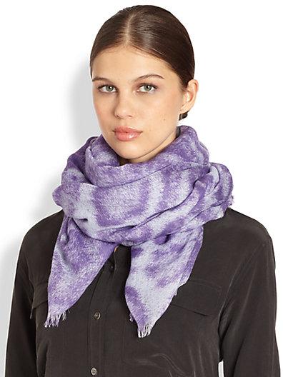 Stella McCartney - Leopard-Print Silk & Wool Scarf/Purple - Saks.com