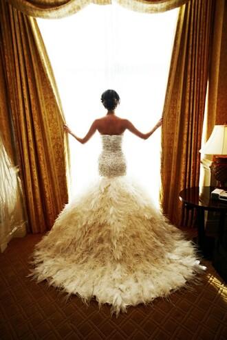 dress wedding dress feathers mermaid dress princess wedding dresses